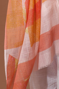 Ma Poesie scarf, design in France made in India, hand woven Prairie design in Pastel, summer shades of lemon, coral and blush pink, subtle floral design.