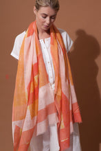 Load image into Gallery viewer, Ma Poesie scarf, design in France made in India, hand woven Prairie design in Pastel, summer shades of lemon, coral and blush pink, subtle floral design.