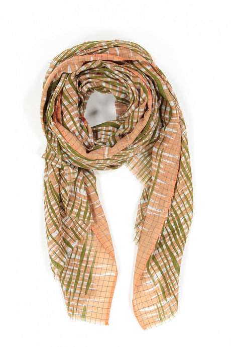 Ma Poesie cotton scarf, designed in Paris, woven in India. Retro design in blush, light coral with olive and white highlights, hatched checks pattern.