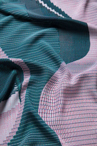 Elk Catja print tee t-shirt long sleeves, print in rose pink and teal green (close up of fabric)