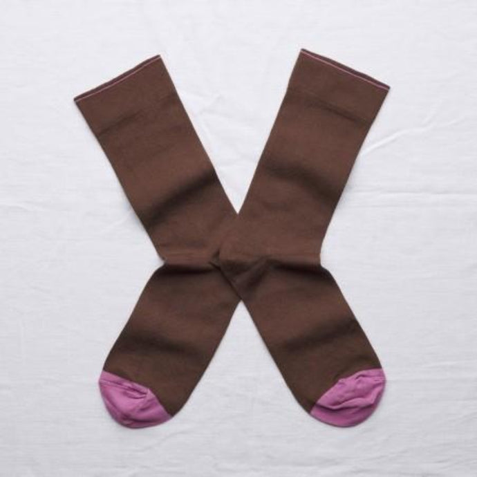 Bonne Maison fine cotton socks, made in France. Co-ordinating plain.Chestnut Brown Plain with Orchid Purple toe and edging.