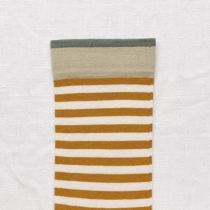 Bonne Maison fine cotton socks, made in France. Honey Stripe. Honey yellow stripe on natural background with cedar green rib trimming and pumpkin orange toe & edging.