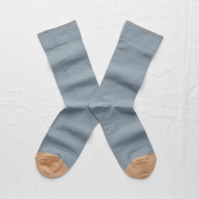 Bonne Maison fine cotton socks, made in France. Co-ordinating plain. Storm blue plain with beige toe and edging.