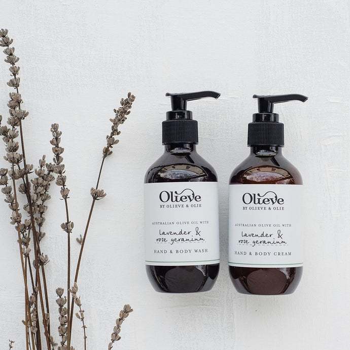 Olieve and Olie lavender and rose geranium hand and body wash and hand and body cream twin boxed gift set, all natural and organic ingredients.