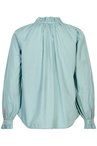 NOA NOA cotton blouse, gathered neck and sleeves in tourmaline green.