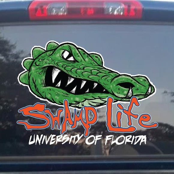 Swamp Life UF University of Florida Gators Mean Mascot Decal cars, trucks etc.
