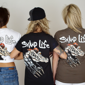 Swamp Life Surrender Strike Through Gator Skull Original Gator Tee