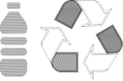 Plastic bottle and recycling icons
