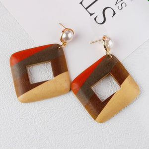 Handmade Wooden Geometric Drop Earrings