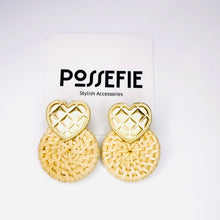 Load image into Gallery viewer, Golden Heart Stud Rattan Earrings