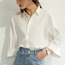 Carolina's White Solid Loose Shirt