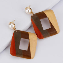 Load image into Gallery viewer, Handmade Wooden Geometric Drop Earrings