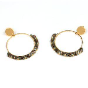 Sharla Gold Beaded Hoop Earrings