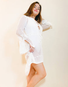 Hollow Out White Swimwear Cover Up