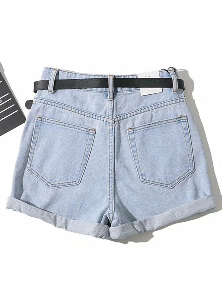 HIGH WAIST DENIM SHORT WITH BELT