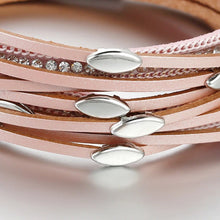 Load image into Gallery viewer, Leaf Charm Pink Leather Bracelets