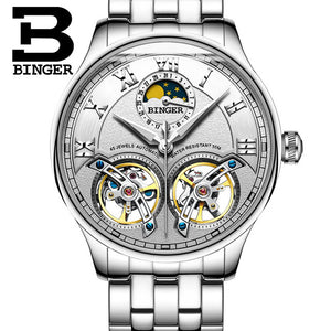 BINGER Double Tourbillon Automatic Mechanical Wristwatch(Swiss Made)