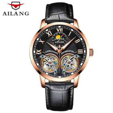AILANG Skeleton Double Tourbillon  Automatic Mechanical Watch(Swiss Made)