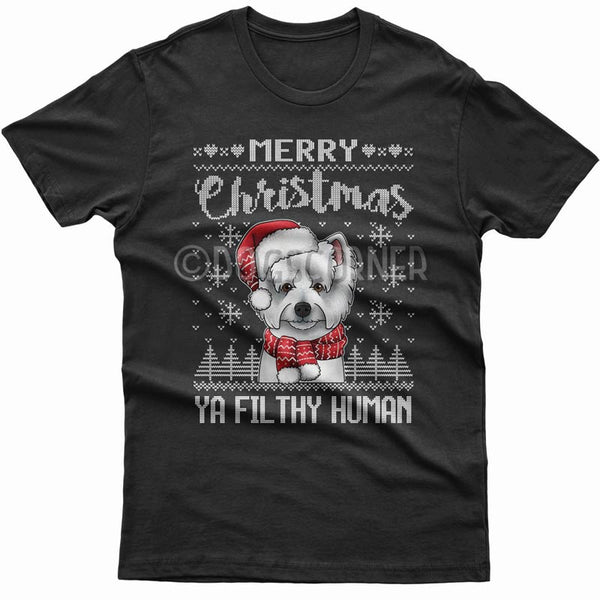 merry-christmas-filthy-human-westie-t-shirt
