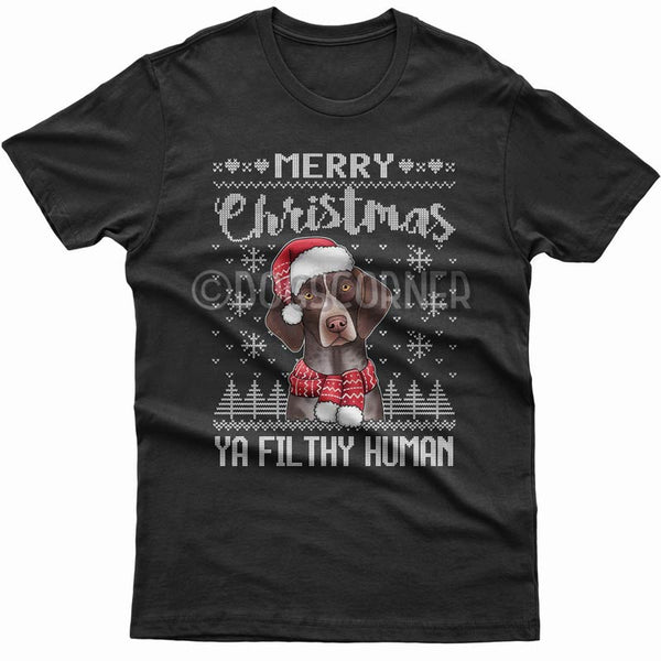 merry-christmas-filthy-human-german-pointer-t-shirt