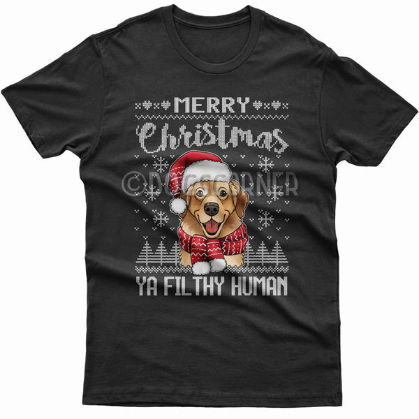 merry-christmas-filthy-human-golden-retriever-t-shirt