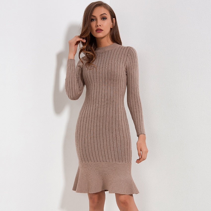 179cd6f9d01f2 Ruffle Sweater Dress Autumn Winter 2018 New Arrivals Long Sleeve Bodycon  Dresses Ladies Knee Length Knitted