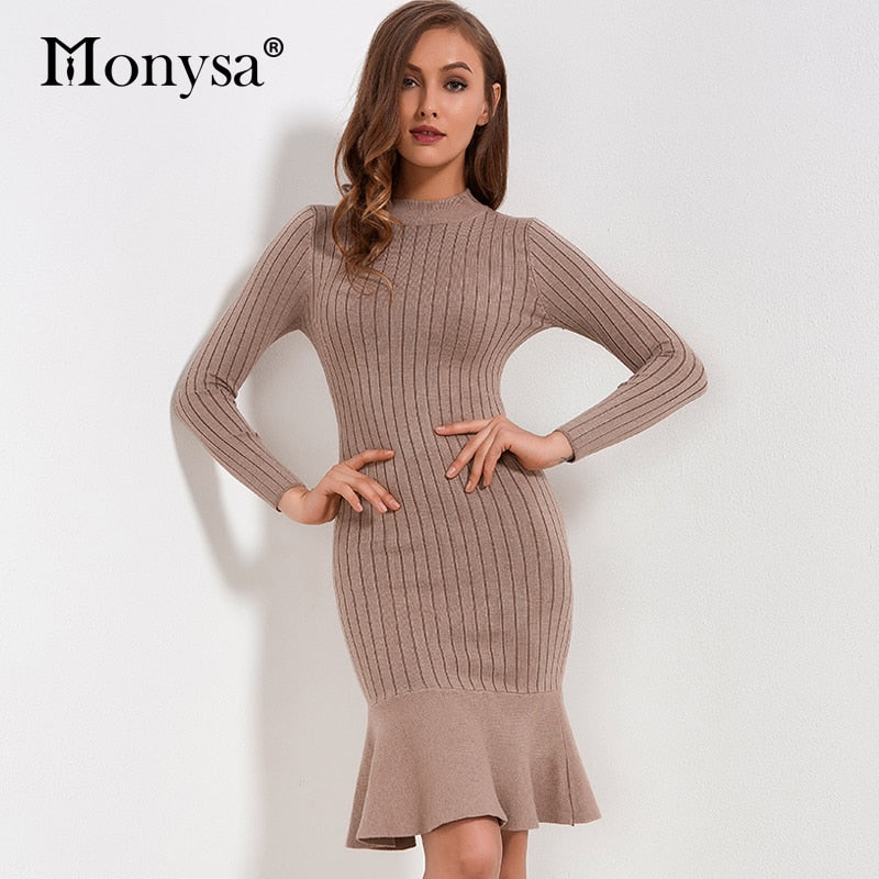 1b14404651 Ruffle Sweater Dress Autumn Winter 2018 New Arrivals Long Sleeve Bodycon Dresses  Ladies Knee Length Knitted