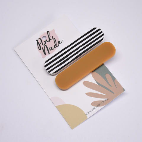 Mustard + Black Strip Hair Clip