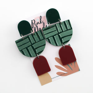 The 'Sarah-Jayne' Forest Green / Wine Red Deco