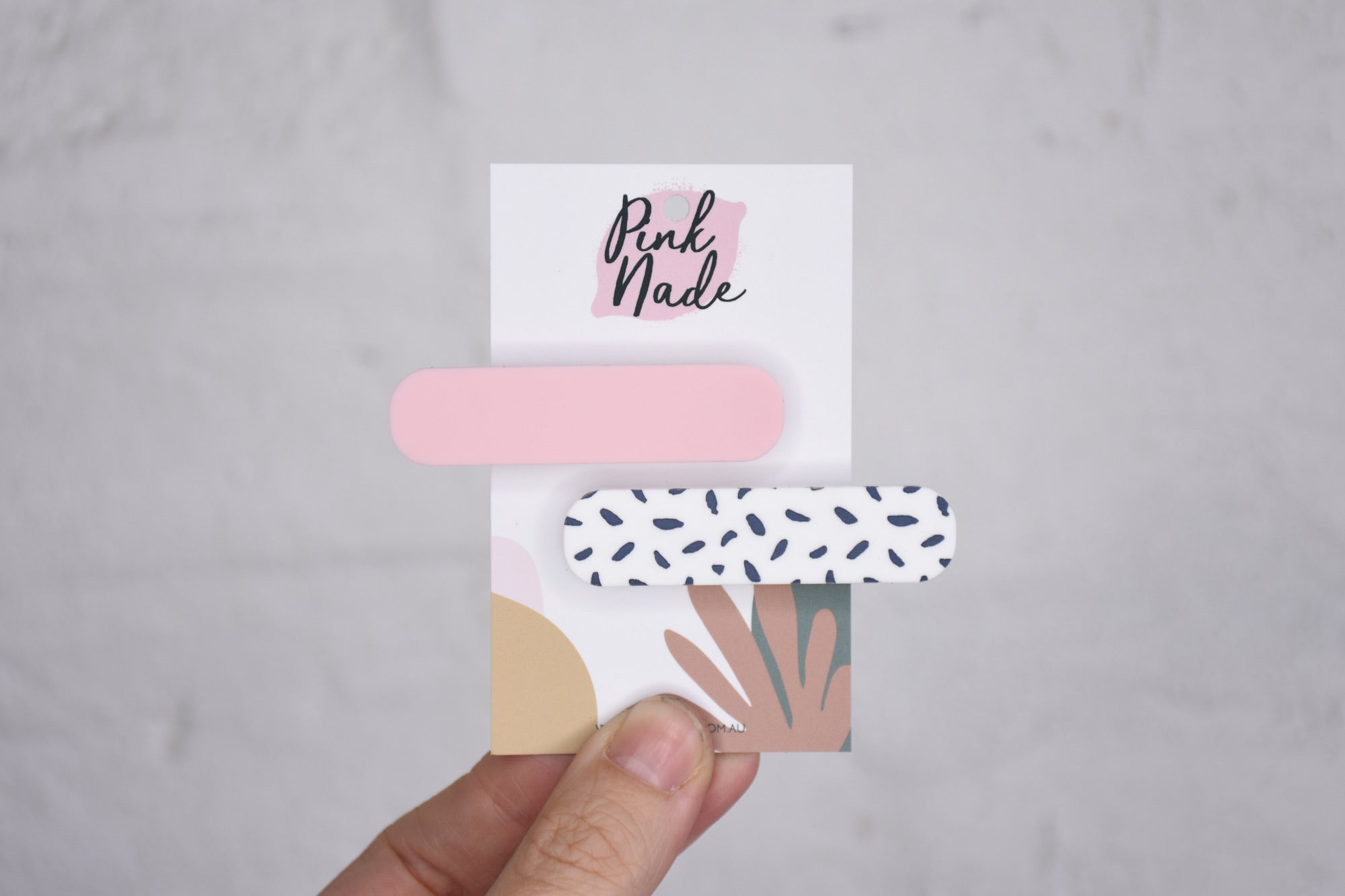 Pink + Grey Spot Hair Clips