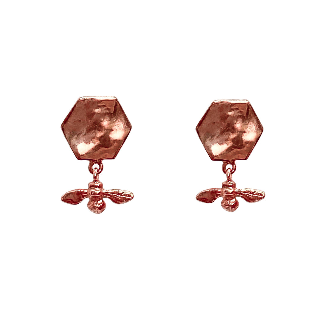 Hexagonal Bee Earrings Rose Gold