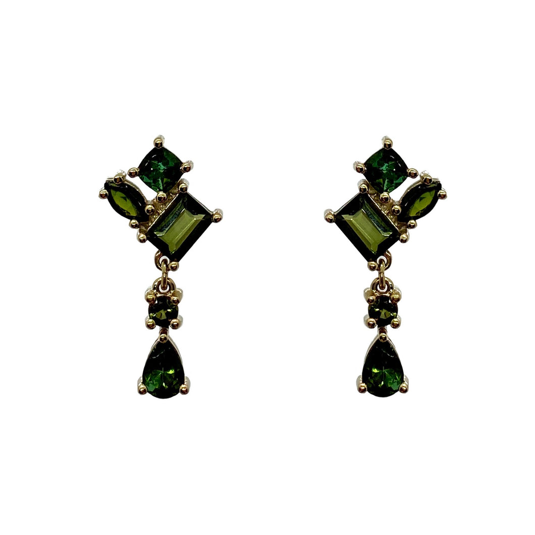 Green Tourmaline Dangly Earrings