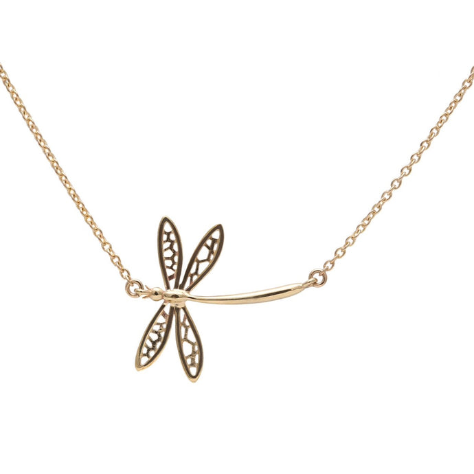 Dragonfly Necklace Yellow Gold