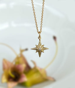 Yellow Gold Star Necklace