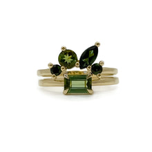 green tourmaline cluster ring