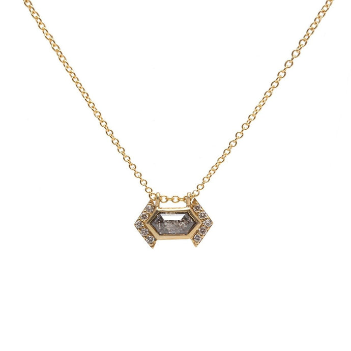 Hexagonal Salt and Pepper Diamond Necklace