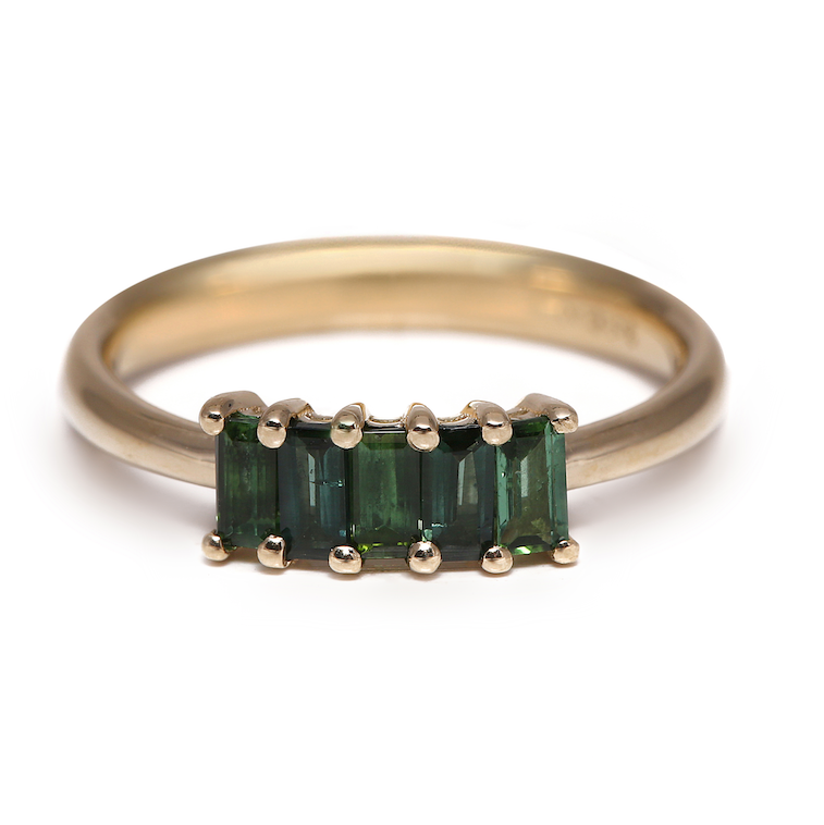 The 5 Stones Tourmaline Ring (Yellow Gold)