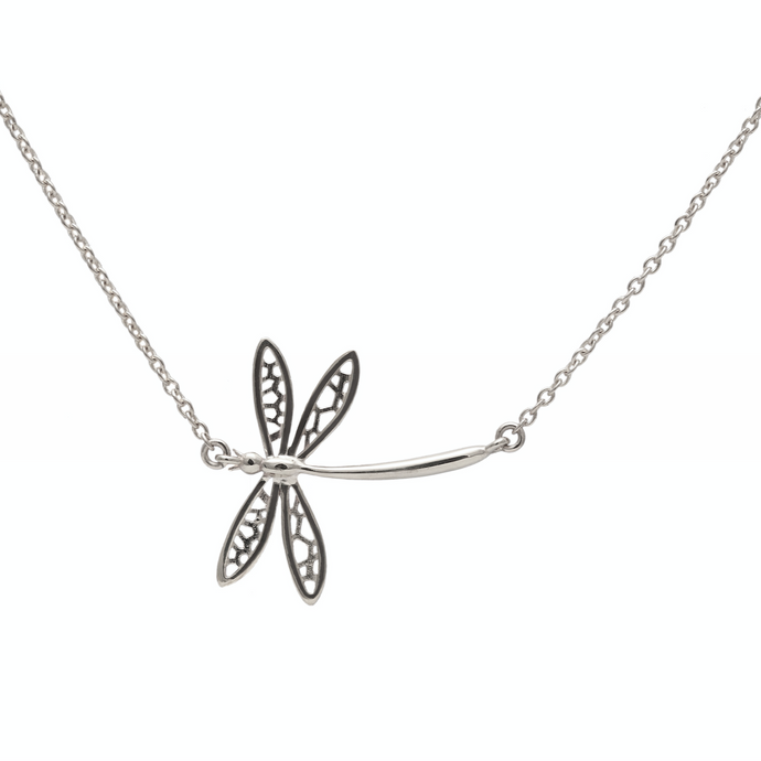 Dragonfly Necklace White Gold