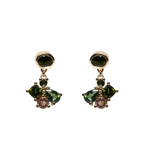 Green Tourmaline and Morganite Cluster Earrings