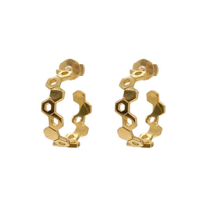Honeycomb Earrings Yellow Gold