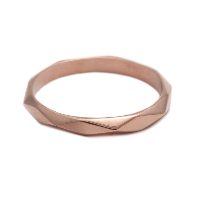 Thin Faceted Ring Rose Gold