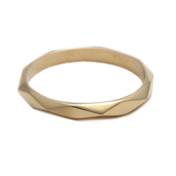 Thin Faceted Yellow Gold Ring
