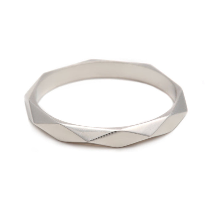 Thin Faceted Ring Silver