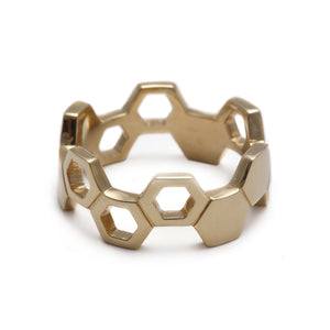 Honeycomb Yellow Gold Ring