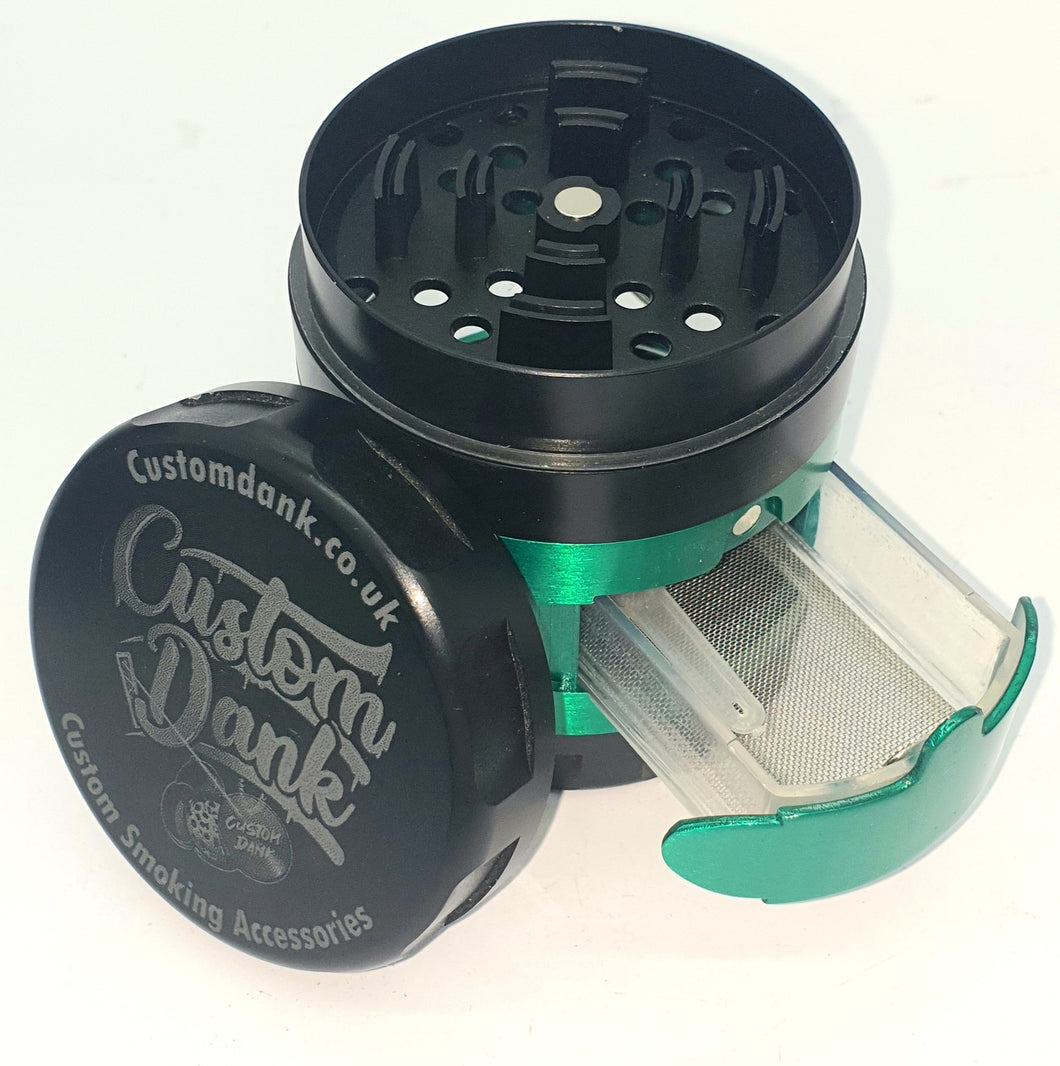 Custom Engraved 63mm 4 Part Slide Out Draw Green Herb Grinder -With Your Logo/image/text
