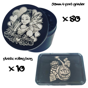 80X Custom 50mm 4 Part Grinder & 10X Plastic RollingTray -With Your Logo/image/text