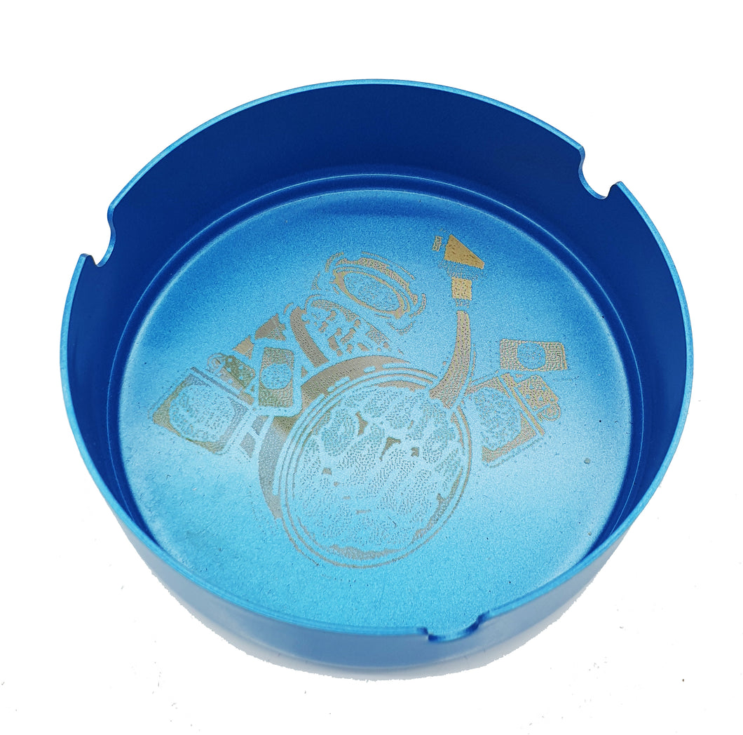 Custom Engraved Steel Ashtray Blue - With Your Logo/Image/Text