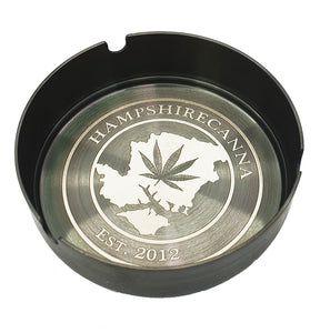 Custom Engraved Steel Ashtray Grey - With Your Logo/Image/Text