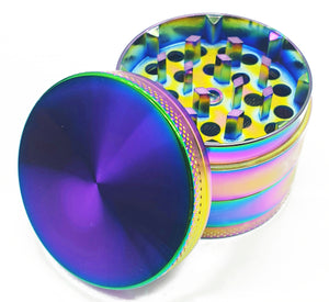 Custom Engraved Iridescent 50mm 4 Part Herb Grinder -With Your Logo/image/text