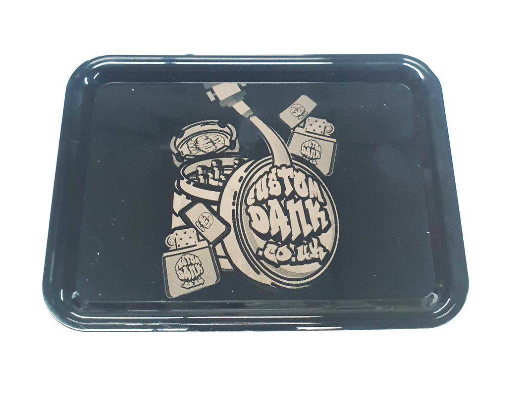 Custom Plastic Rolling Tray Black-  With Your Logo/Image